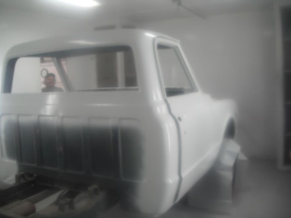 The cab and bed had to be separated so we could address problems and get good paint coverage on the cab and front of the bed.